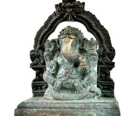 Handmade Brass Prabhavali Ganesha With  Intricate Work And Prabhavali