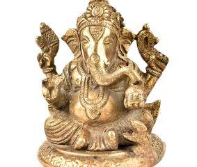 Handmade Brass Charbhuja Worship Ganesha Statue