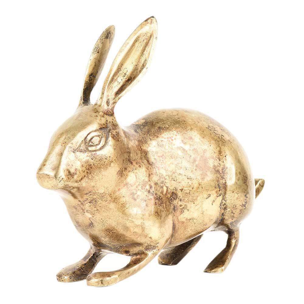 Golden Brass Rabbit Figurine Home Decoration Animal Statue