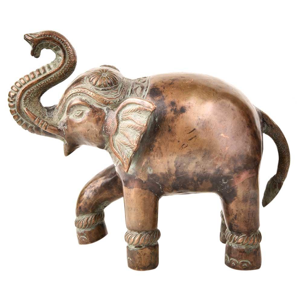 Brass Elephant Trunk Up Brass Figurines