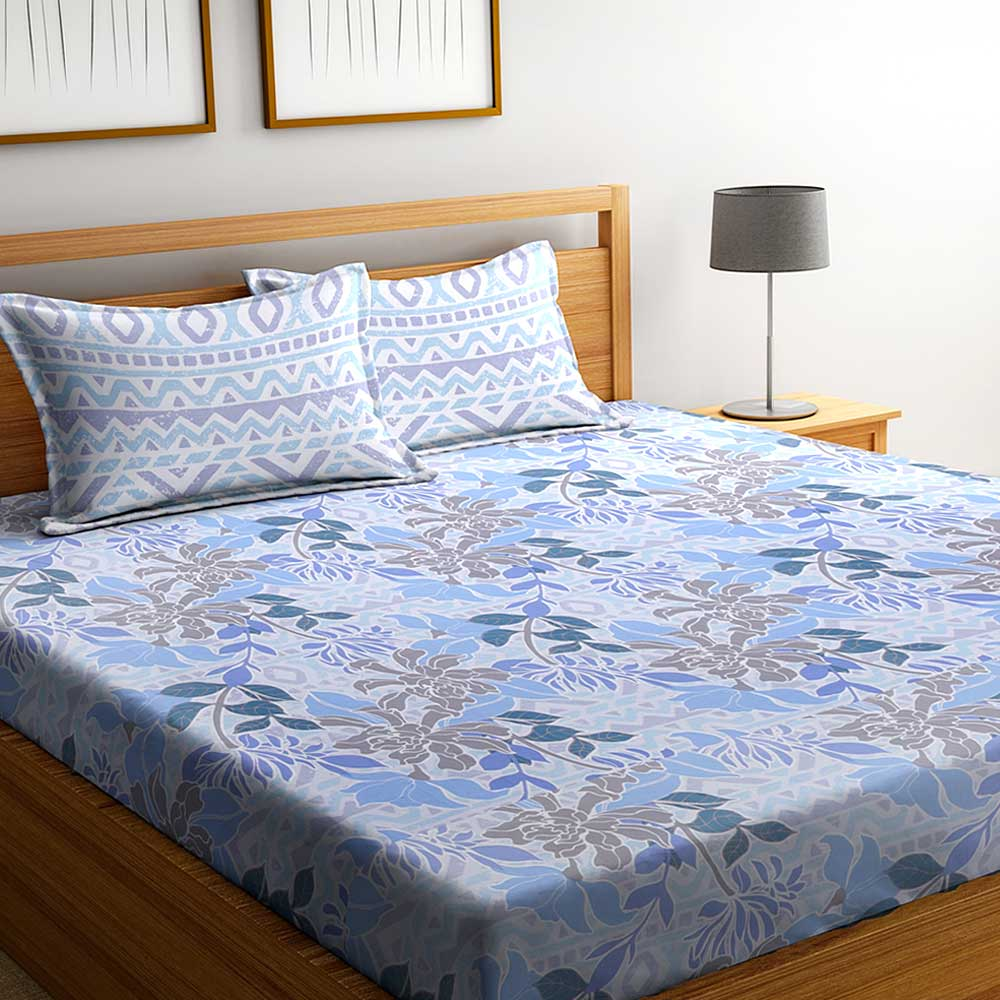 Blue Floral 104 TC Cotton 1 Queen Bedsheet with 2 Pillow Covers