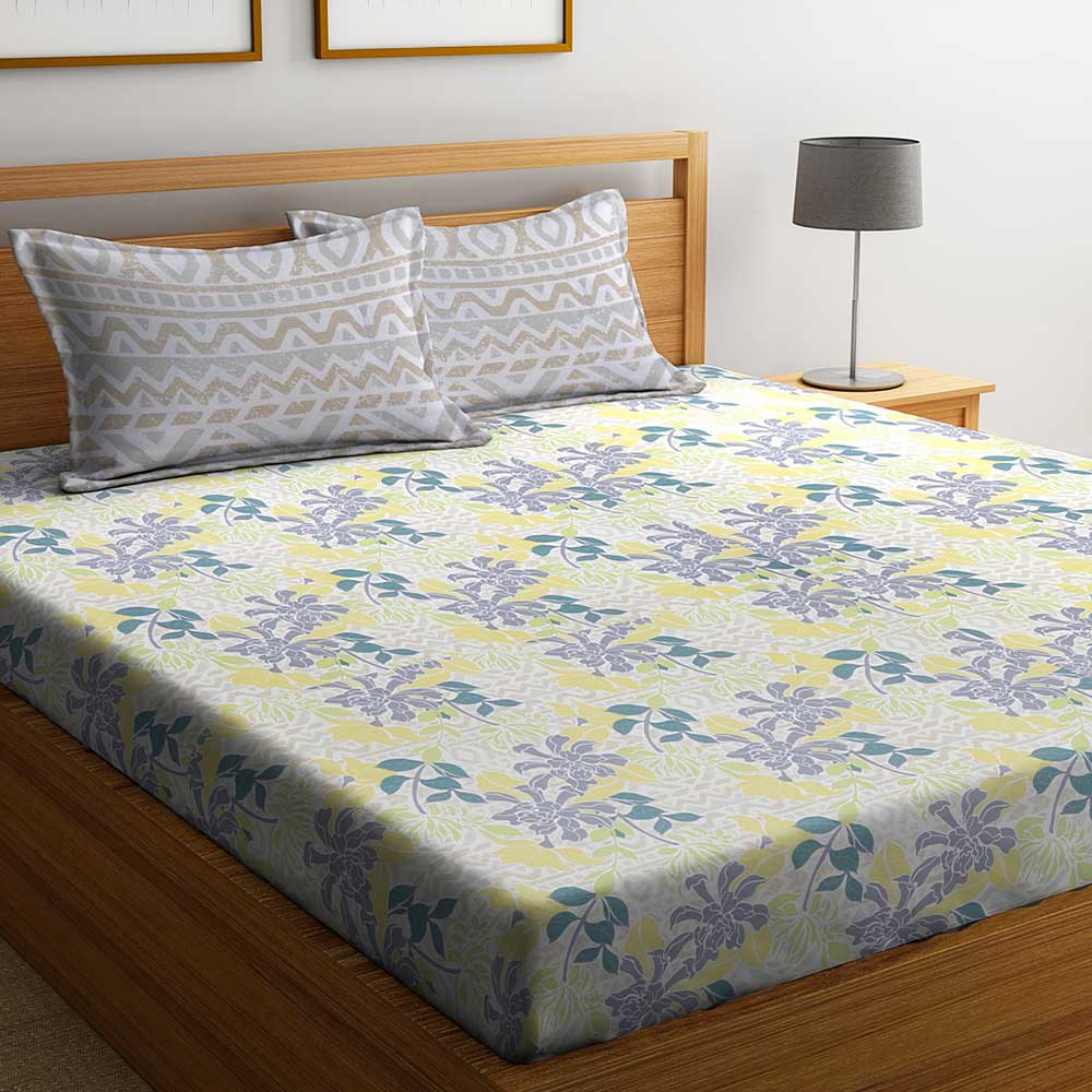 Purple Floral Abstract 104 TC Cotton 1 Queen Bedsheet with 2 Pillow Covers