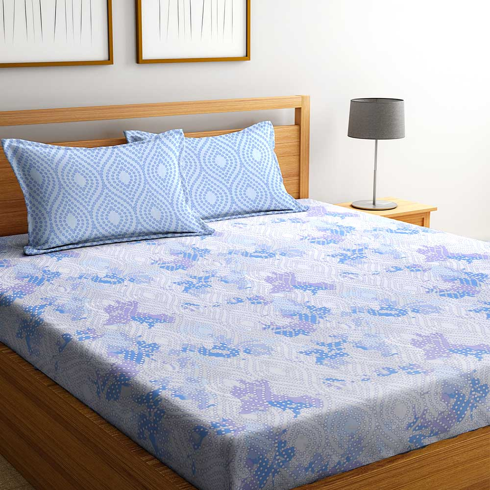 Light Blue Abstract 104 TC Cotton 1 Queen Bedsheet with 2 Pillow Covers