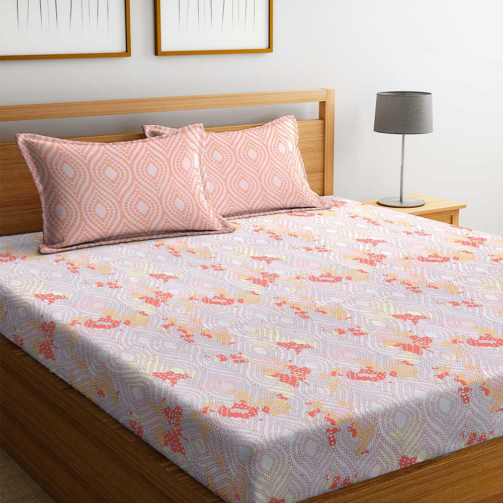 Orange Floral 104 TC Cotton 1 Queen Bedsheet with 2 Pillow Covers