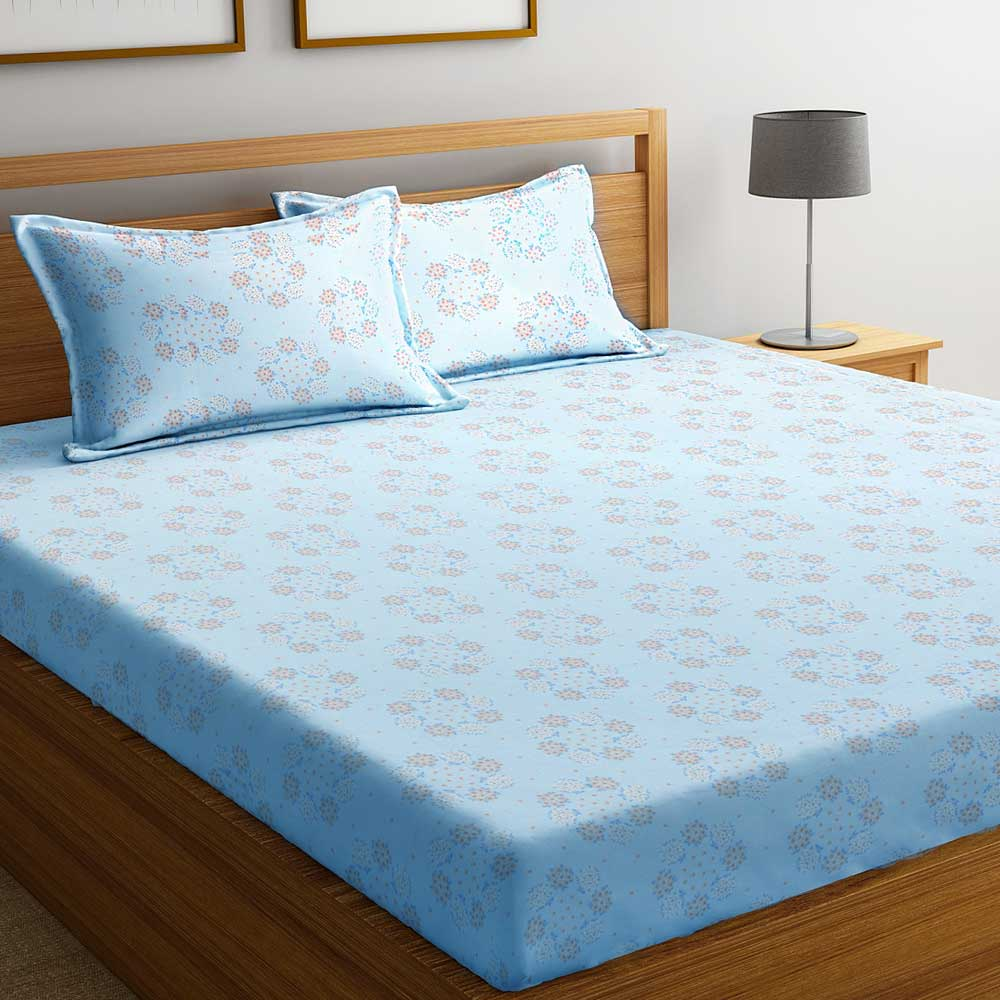 Blue Small Floral 104 TC Cotton 1 Queen Bedsheet with 2 Pillow Covers