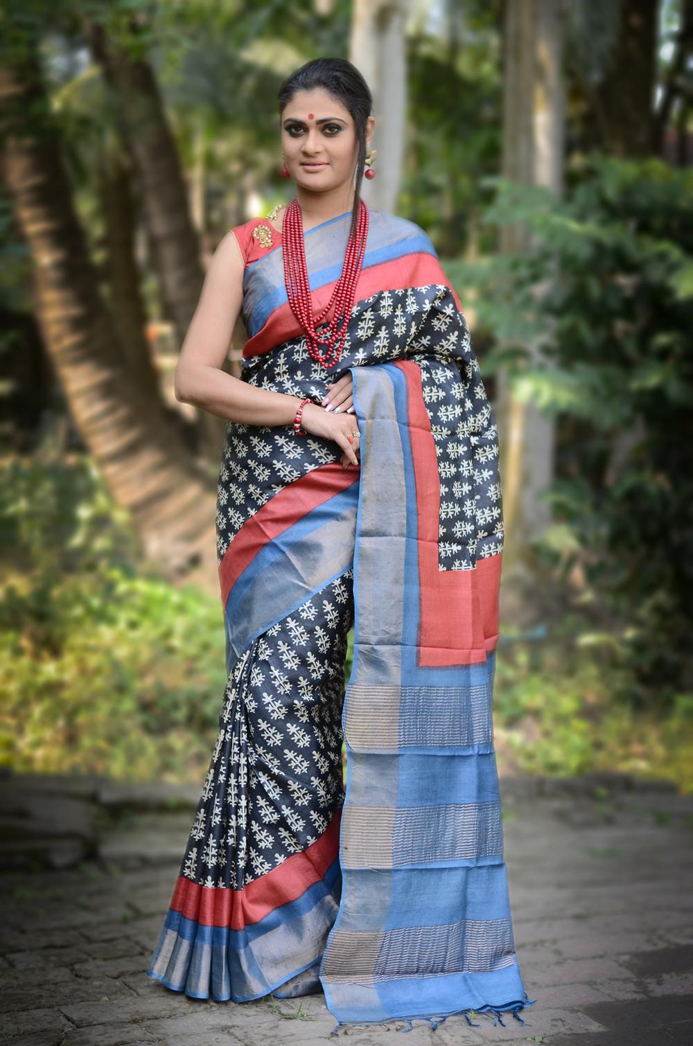 Zari Border Pure Tussar Silk Saree Bangal Handwoven Hand Block/Dyed Zari Tossor Sari with SilkMark assurance Tag 02