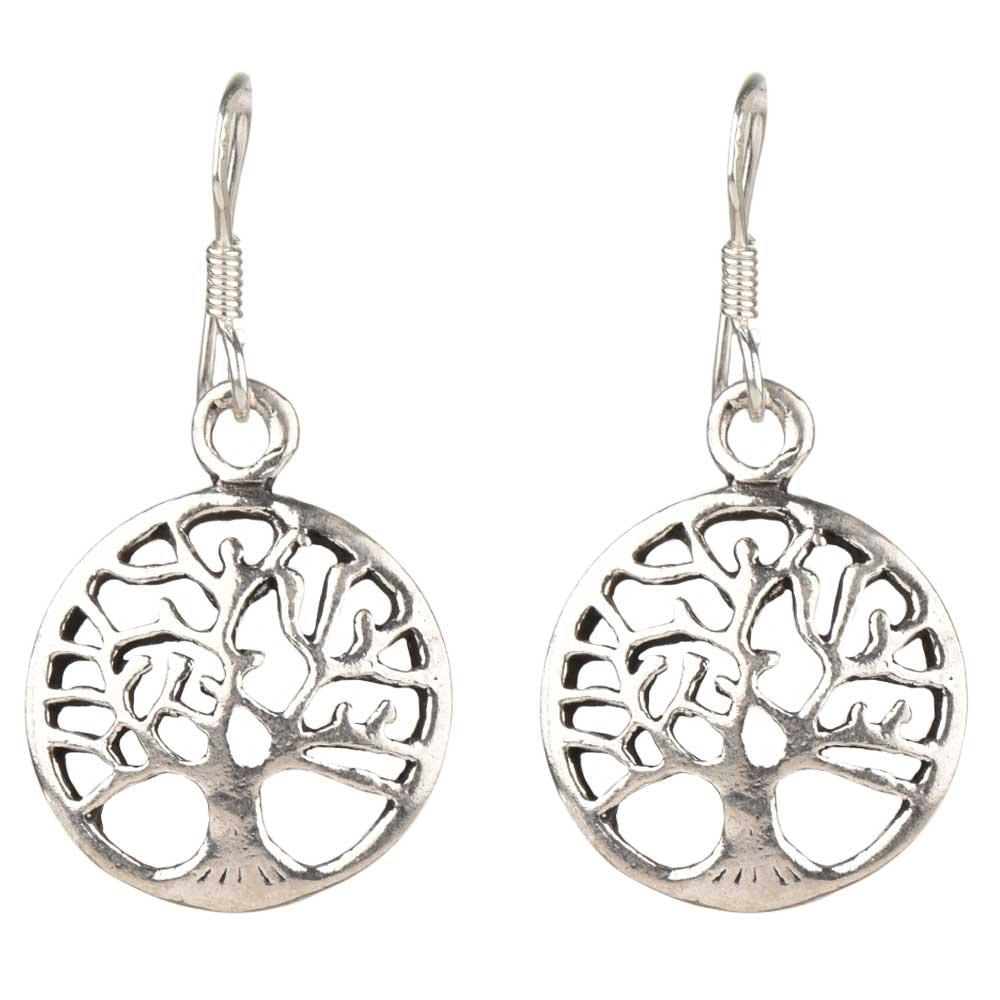 92.5 Sterling Silver Tree of Life Drop Dangle Earrings For Women Girls