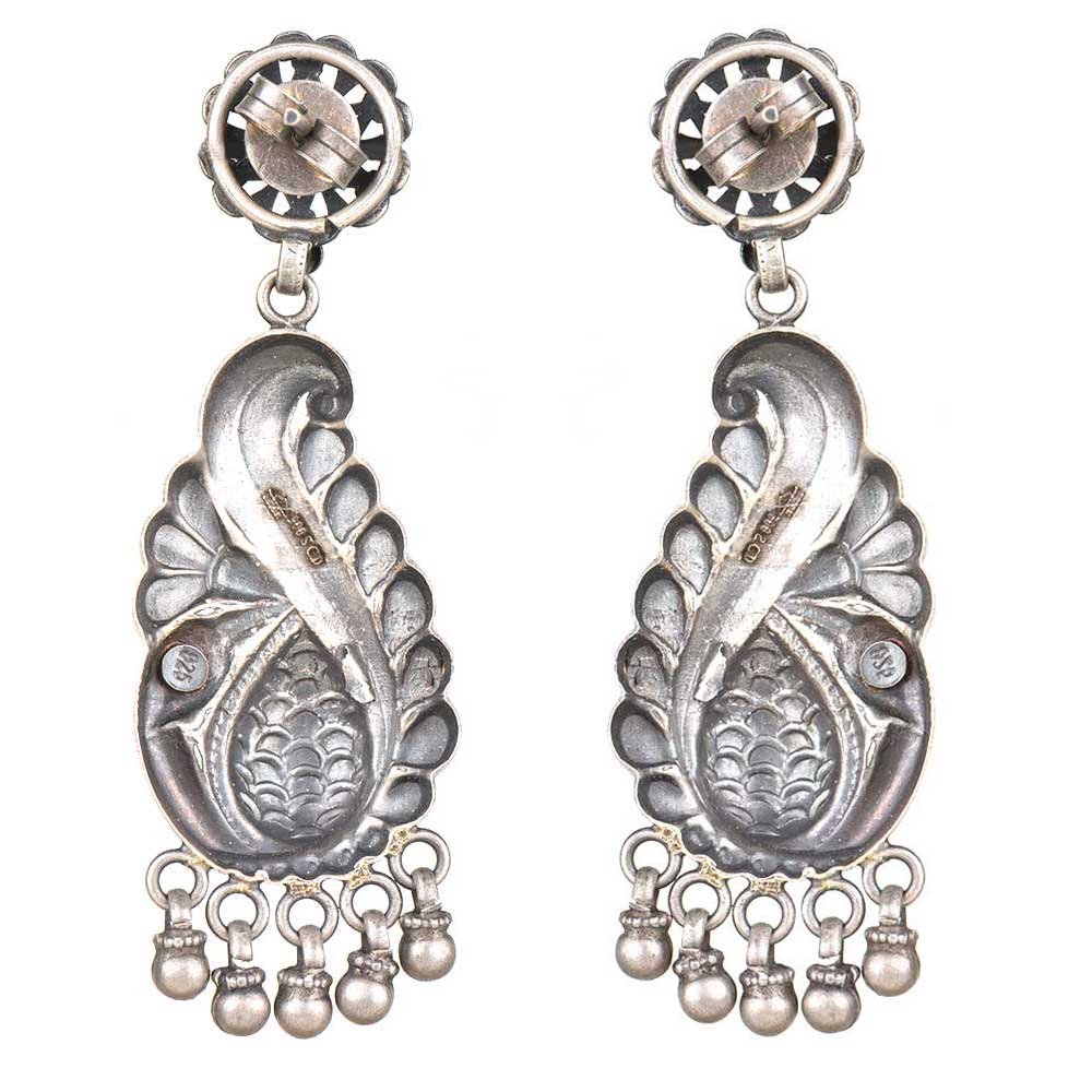 92.5 Sterling Silver Earrings Mayur Peacock Motif With Ghungroos Earrings For Girls