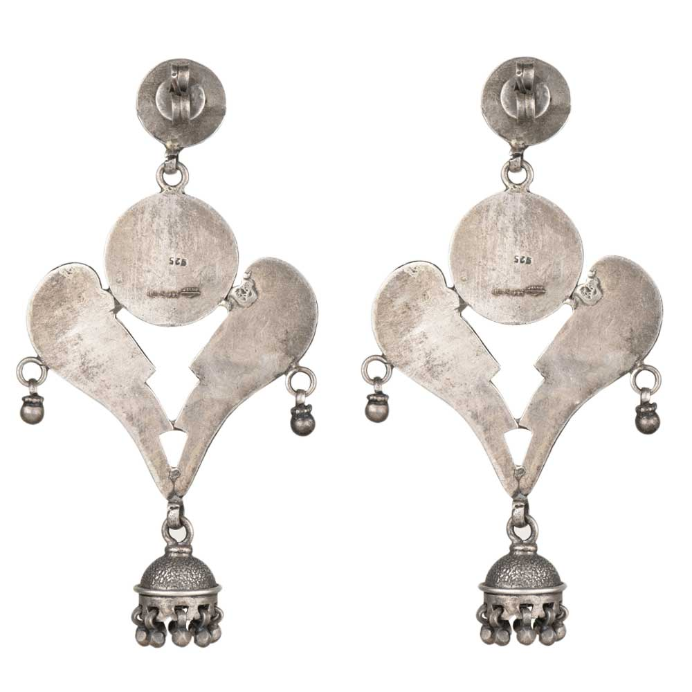 92.5 Sterling Silver Earrings Padmavati Inspired Ethnic With Peacock Classic Dangle Earring For Women