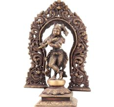 Standing Krishna Statue With Floral Prabhavali