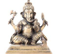 Brass Charbhuja Worship Ganesha Statue