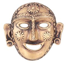 Brass Tribal Mask Laughing Face Naga Art Lady Head Wall Hanging