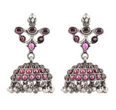 925 Sterling Earrings Pink Stones Jhumkies