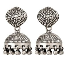 925 Sterling Silver Jhumkies With Floral Design Statement Earrings
