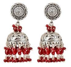 92.5 Sterling Silver Earrings Red Beads Tassel Oxidized Jhumkies