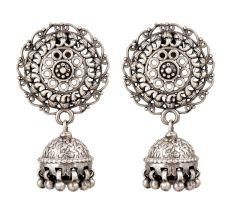 Oxidized 92.5 Sterling Silver Earrings Afghani Boho Tribal Large Chandbali Traditional Jhumkis