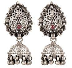 92.5 Sterling Silver Tribal Earrings Red Stone Temple Jewelry Jhumkies