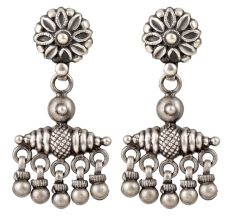 92.5 Sterling Silver Earrings Floral Stud And Hanging Silver Beads