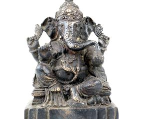 Brass Handmade Lord Ganesha Seated On A Raised Lotus Seat