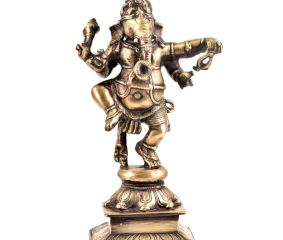 Lord Ganesha Figurine Brass Finely Engraved Dancing
