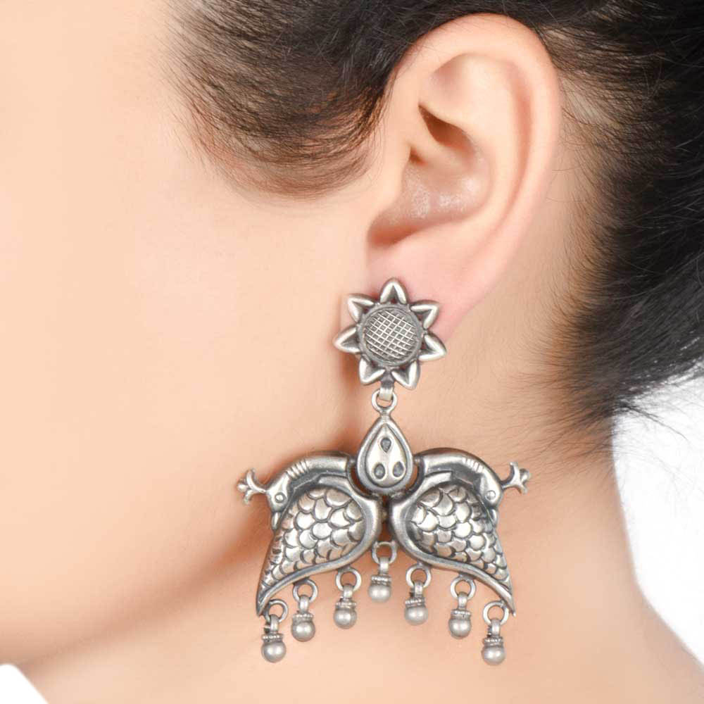92.5 Sterling Silver Earrings With Peacock Motif And Flower Stud