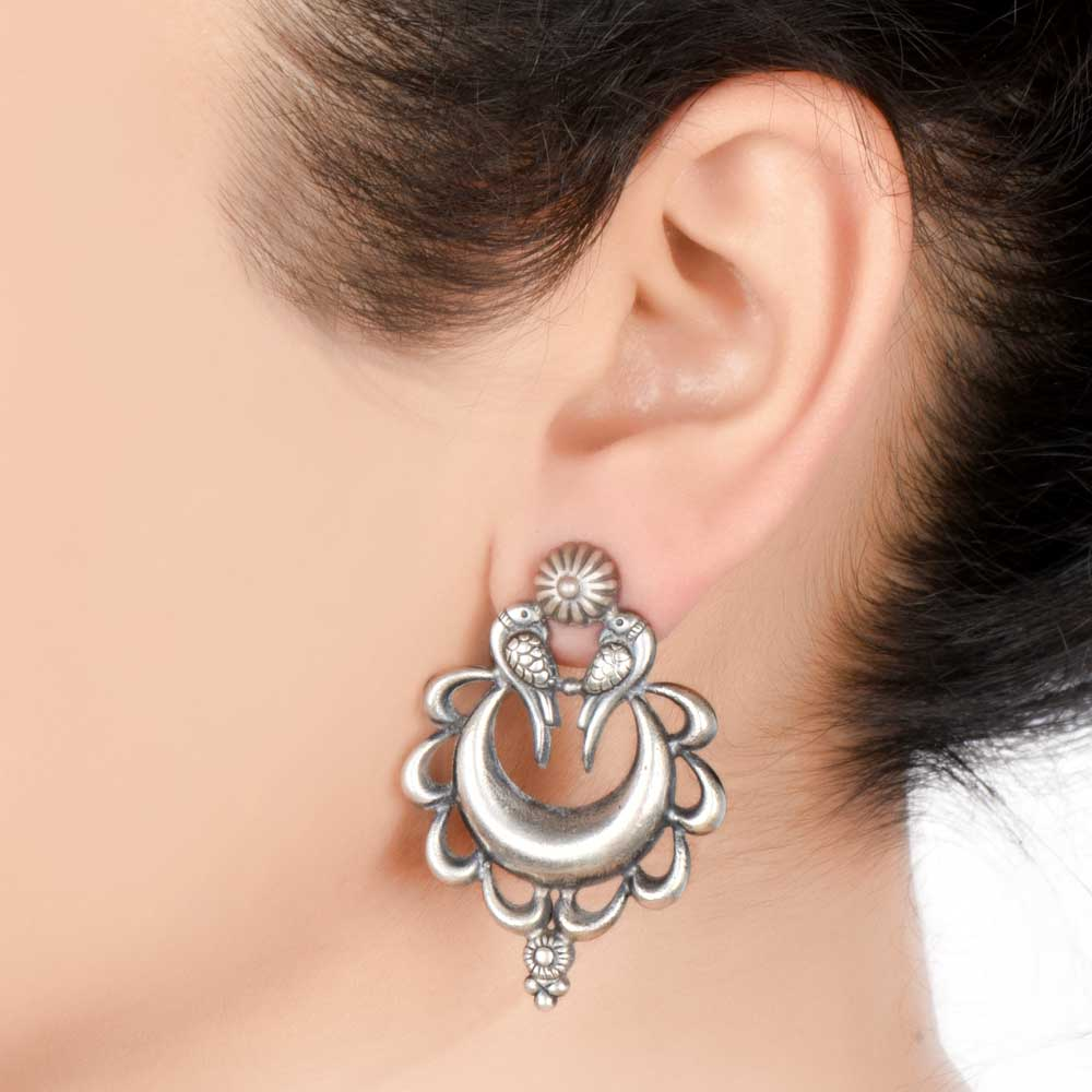 92.5 Sterling Silver Earrings Peacock Crescent Moon Ethnic Stud Earrings