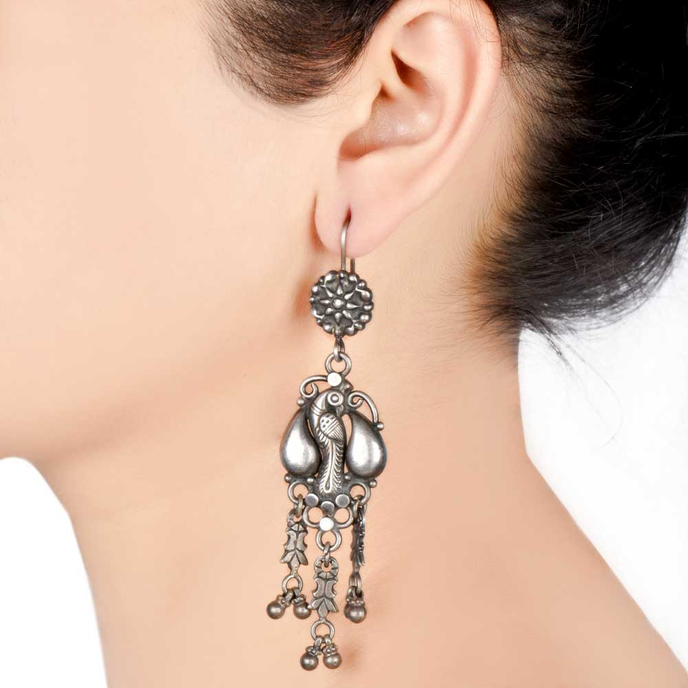 92.5 Sterling Silver Earrings Handmade Peacock Motif Traditional Dangles