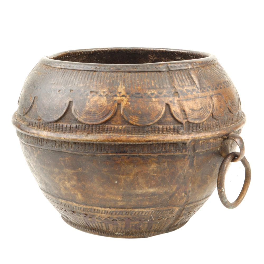 Brass Rice Measurement Tribal Bowl with One Side Handle Rim