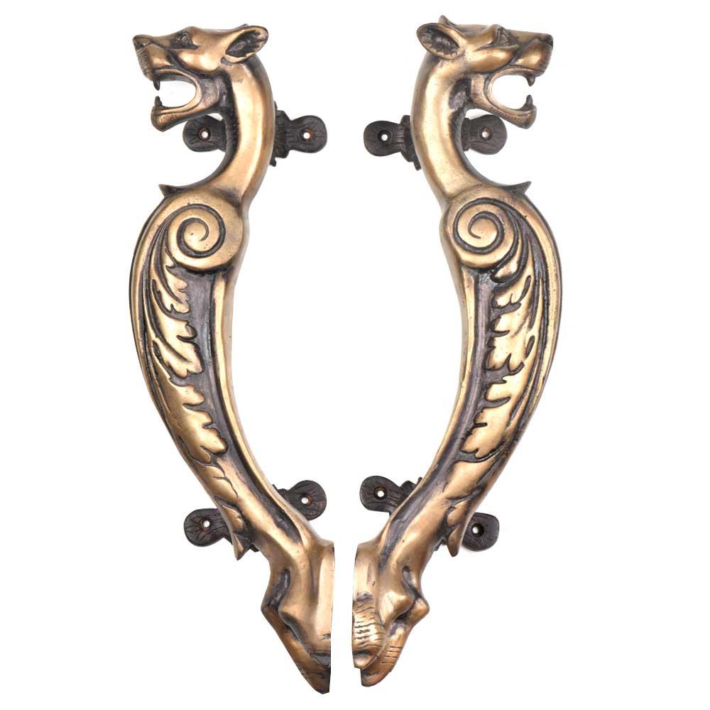 Elaborate Design Brass Tiger Door Handle Rustic Door Pull In Pair