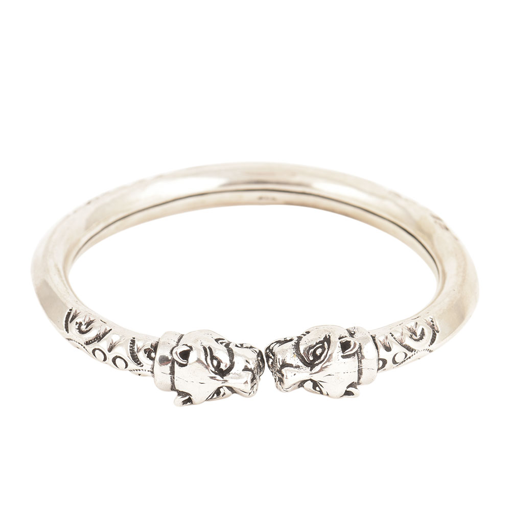 Tiger Face 925 Sterling Silver Women Girls Bangle