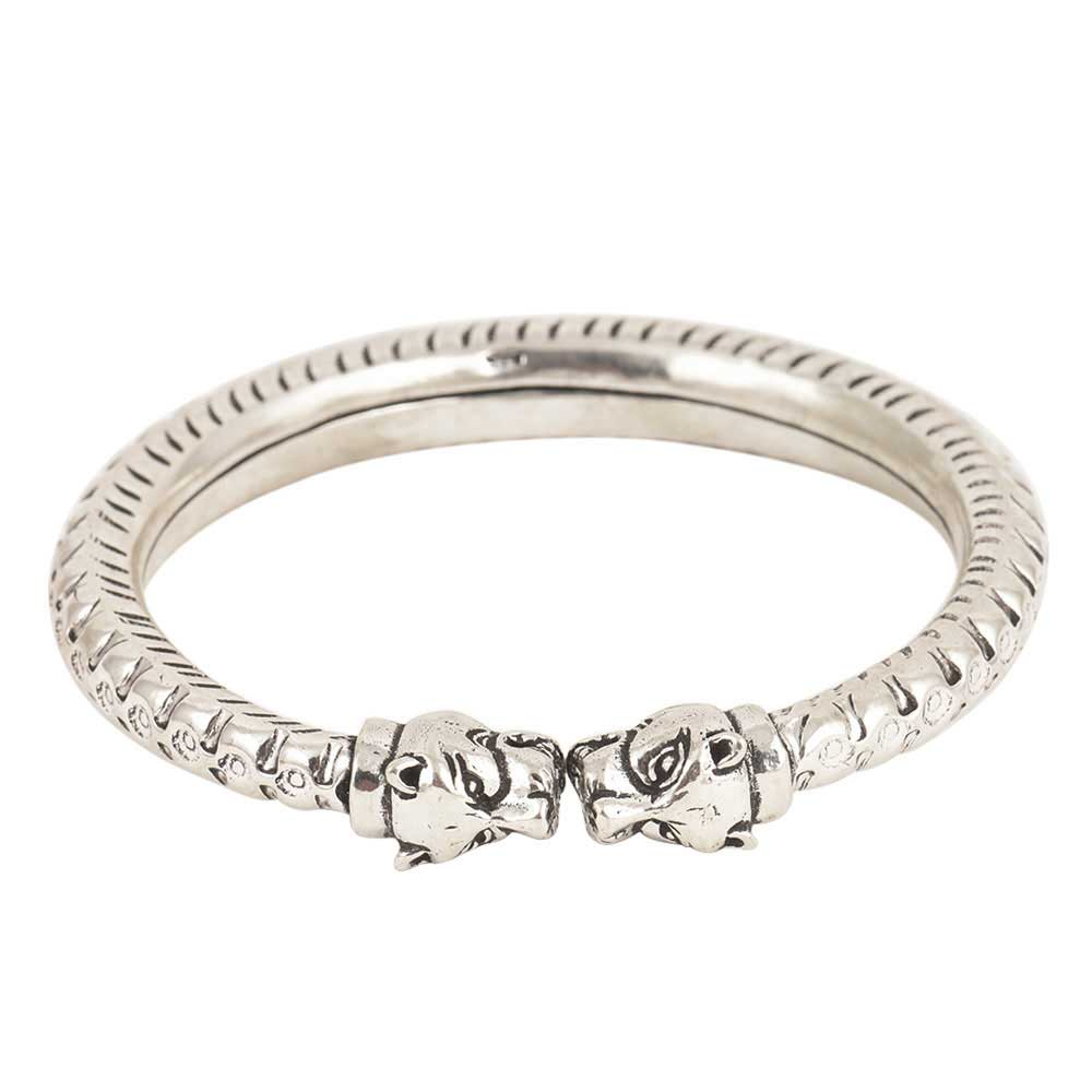 Tiger Face 925 Sterling Silver Women Girls Hand Crafted Bangle