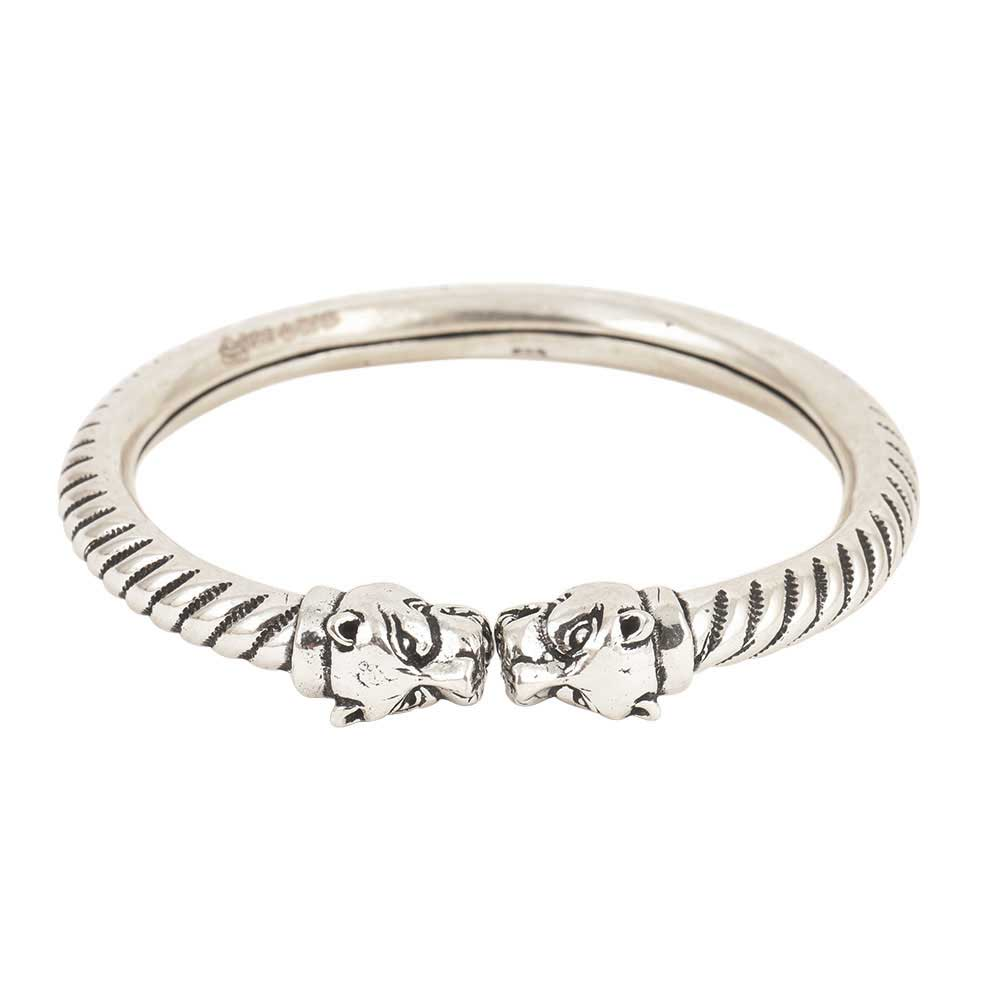 Tiger 925 Sterling Silver Kada Carved Women And Girls Bangle