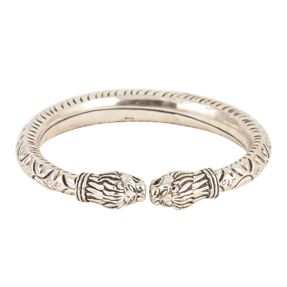 925 Sterling Silver KadaTextured Tiger Faced Women Bangle