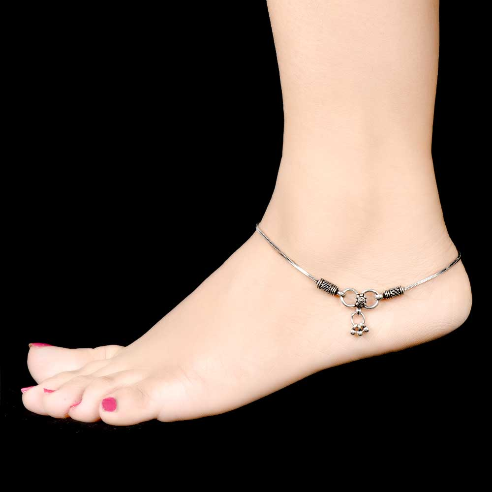 Ideal Plain Chain Silver Anklets Payal with Floral End Hanging Bells