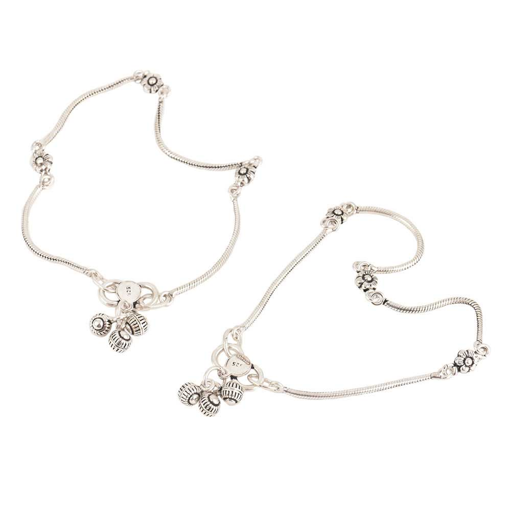 925 Sterling Silver Anklets Oxidized Floral Beads Silver Drums Ends