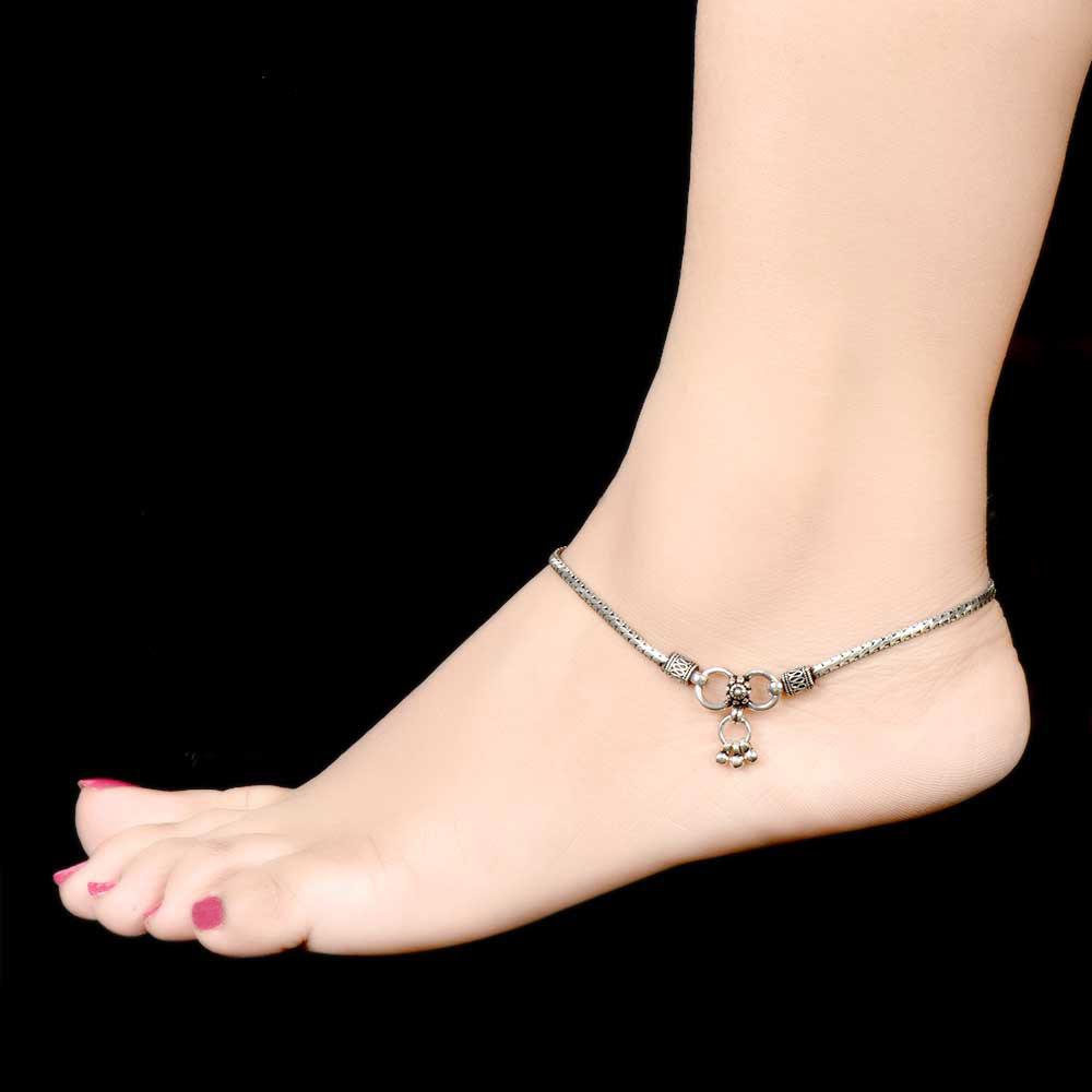 925 Sterling Silver Anklets Braided Design Black Design Pendent Ends