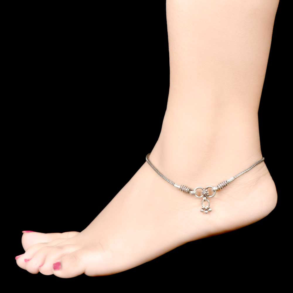 925 Sterling Silver Anklets Simple Chain Anklet And Silver Bells End