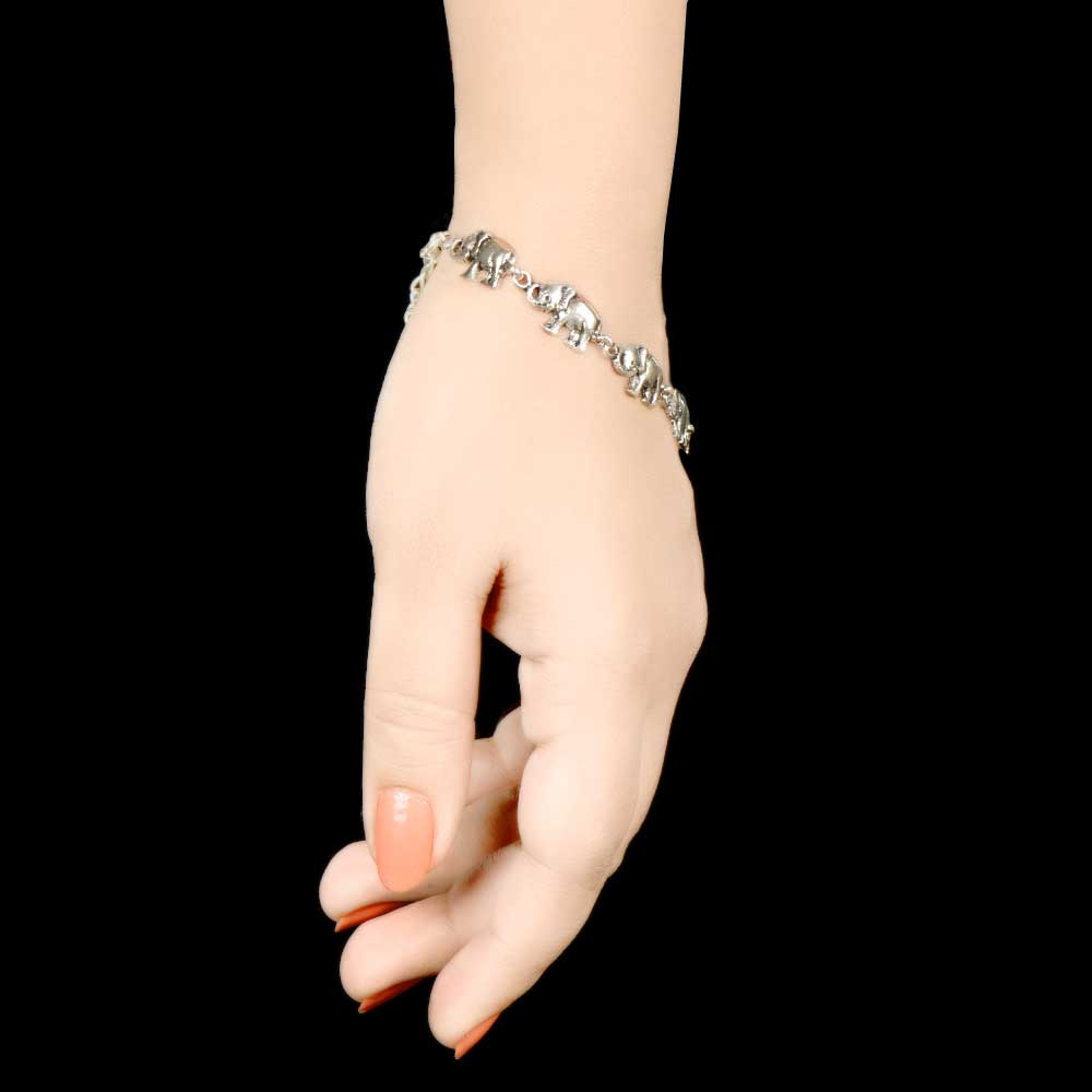 Elephant Design 925 Sterling Silver Bracelet For Women And Girls