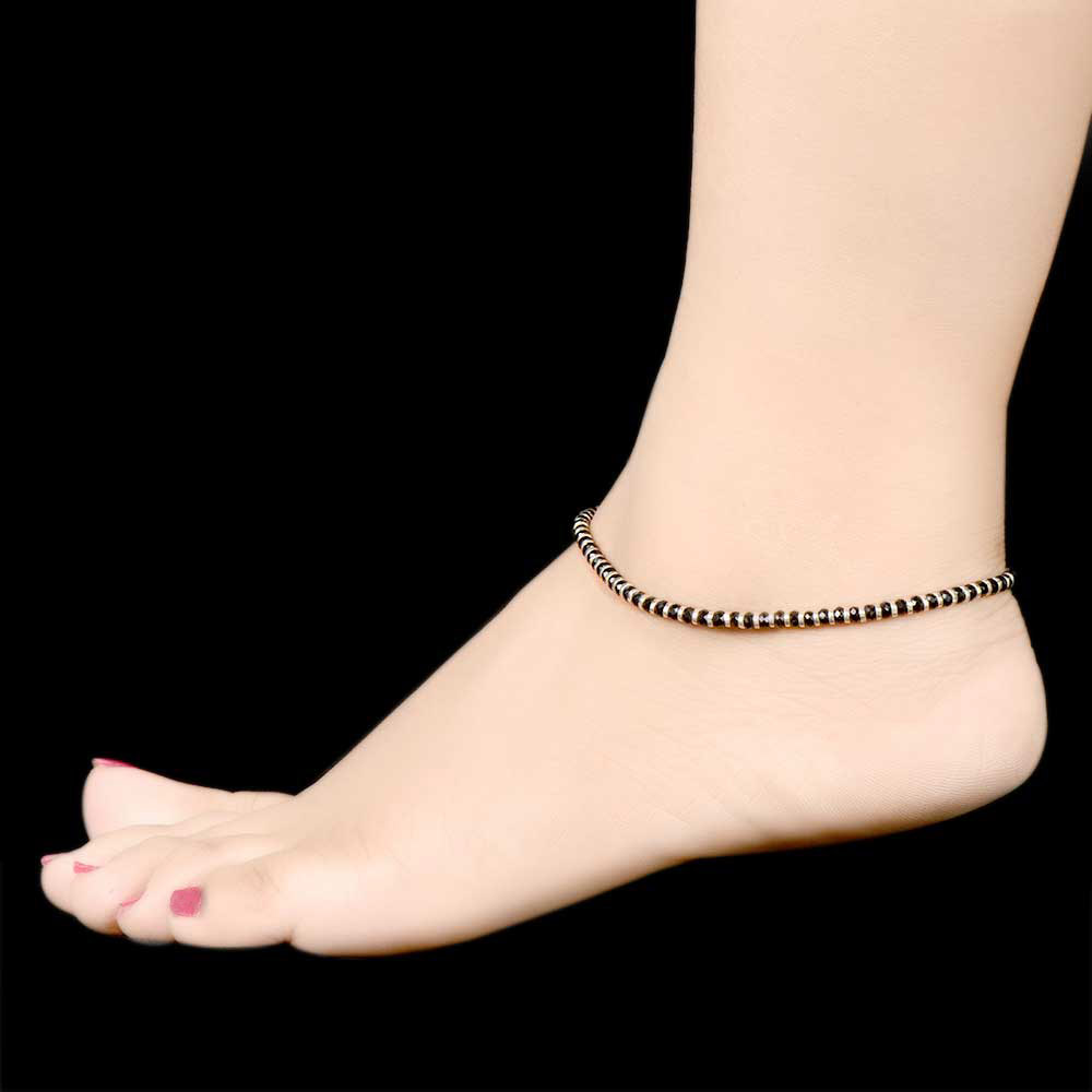 Black Beads 925 Sterling Silver Anklets for Women And Girls