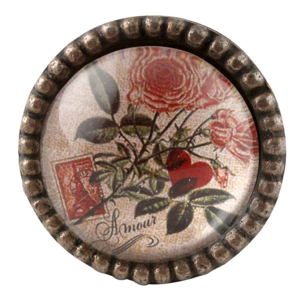 Amour Rose Inside Carte Postale Round Iron Glass Knobs