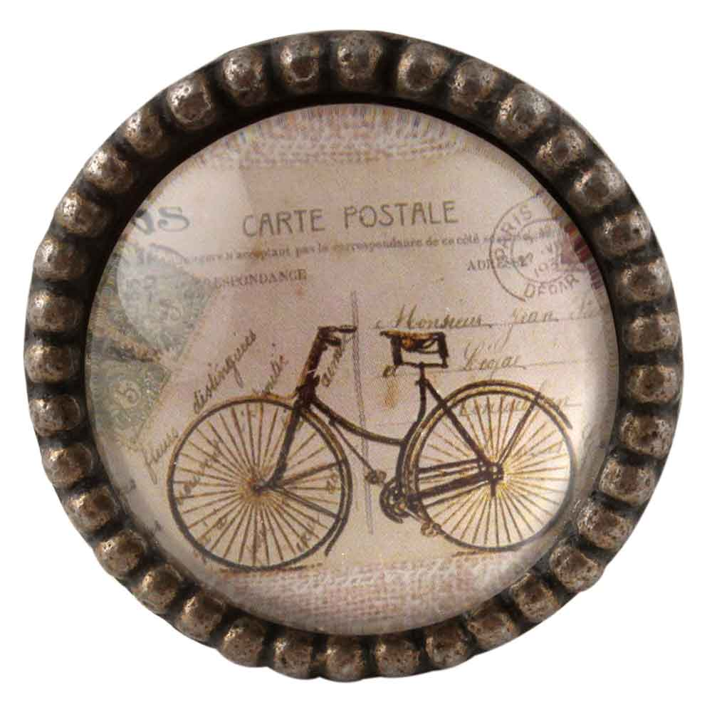 Carte Postale Bicycle Inside  Round Iron Glass Cabinet Knobs