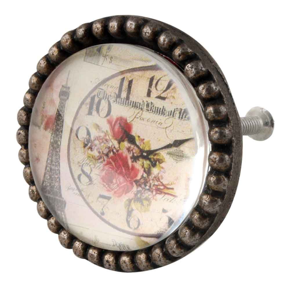 Paris Tower Watch Inside Carte Postale Round Iron Glass Knobs