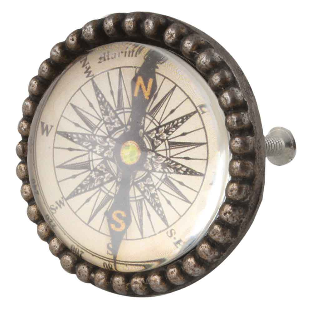 Vintage Compass Inside Round Iron Glass Dresser Knob