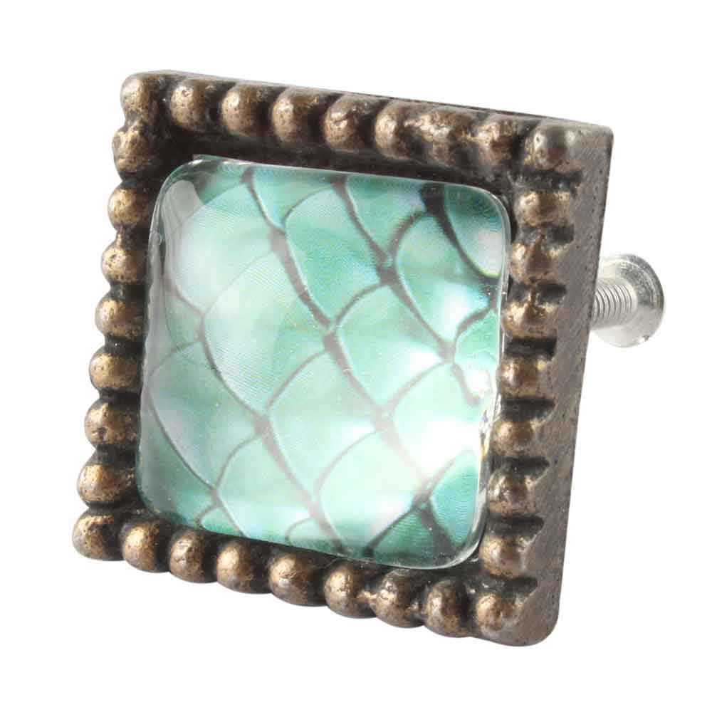 Sea Green Inside Pattern Square Iron Glass Dresser knob
