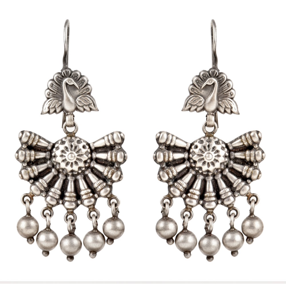92.5 Sterling Silver Earrings Fan Shaped With Hanging Silver Beads