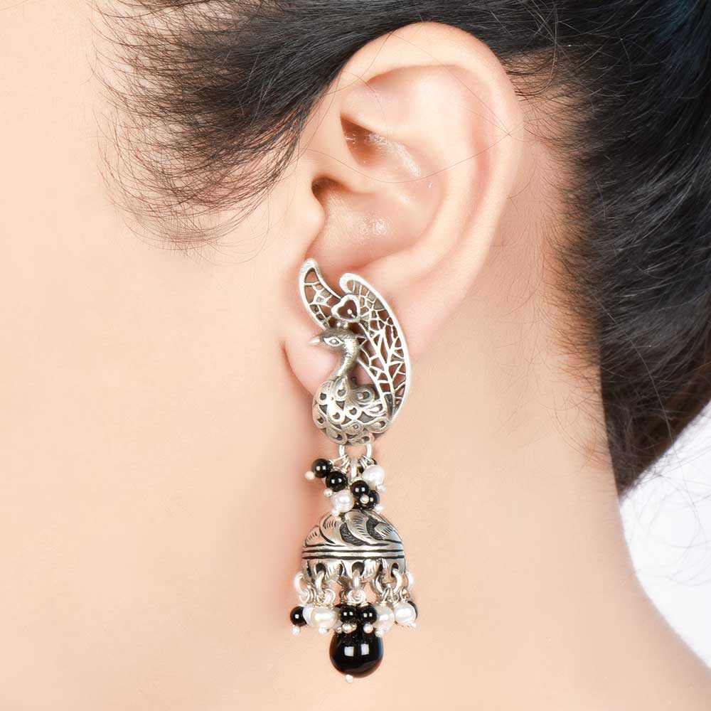 Sterling 92.5 Pure Silver Designer Earrings Jhumkies With Black Beads and Bird Stud
