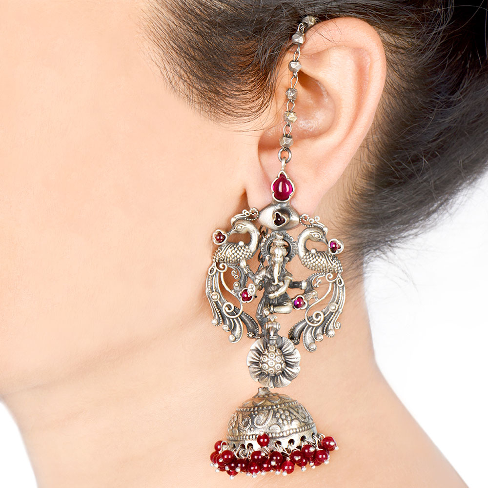 92.5 Sterling Silver Earrings Temple style With Ganesha Idol Surrounded by Two Peacocks And A Chain