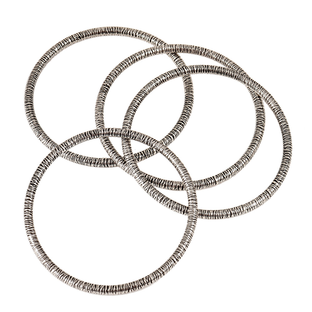92.5 Sterling Silver Bangles With Light Thin Textured Design( Set OF 4 )