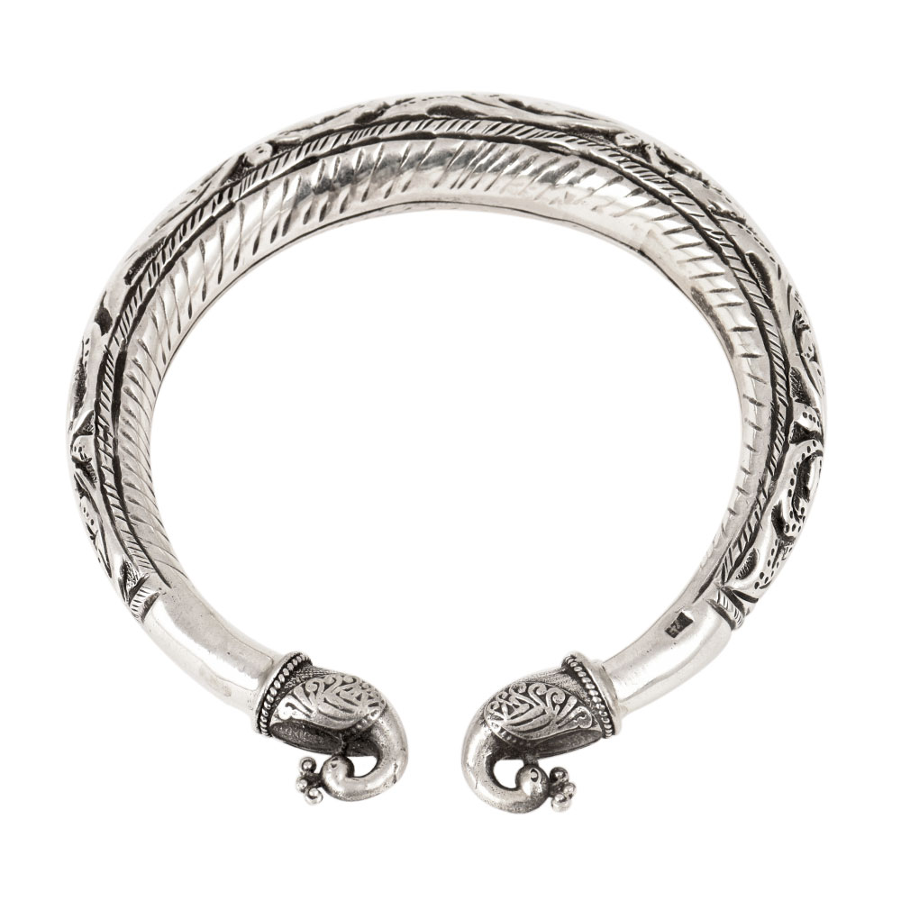 Double Peacock 92.5 Sterling Silver Bangle Adjustable Fashion Bangles