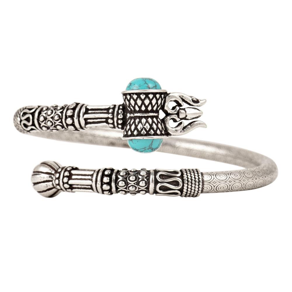 92.5 Sterling Silver BangleTrishul Damroo Turquoise Stone Designer Kada
